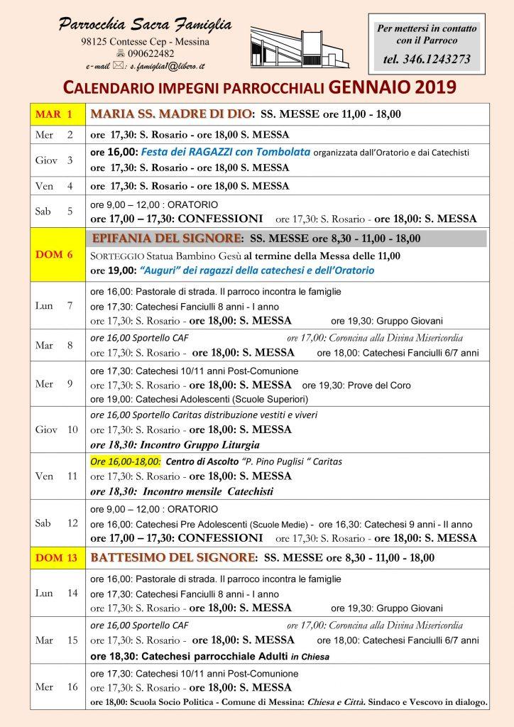Calendario Gennaio.Calendario Gennaio 2019 Parrocchia Sacra Famiglia Cep